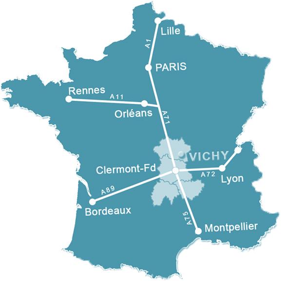 carte de la situation géographique Vichy en France Transports